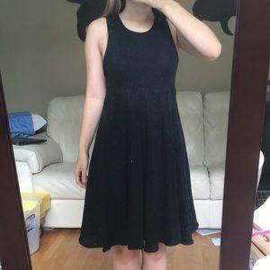 Cynthia Rowley Babydoll Black Glitter Halter Dress